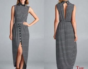 Women's Striped Hi/Lo Sleeveless Dress, Maxi Dress, Tank Dress
