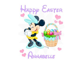 Personalized, Easter,  Minnie Mouse Digital Image for T shirt, Printable Iron On Transfer, Sticker custom image