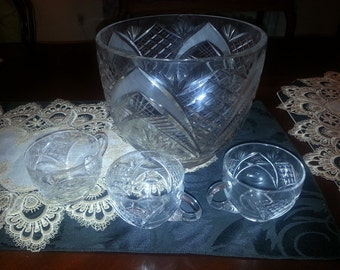 Mid Century Vintage Crystal Punch bowl set 12 cups & punch bowl, mint, never used/ for special events, weddings anniversary parties,