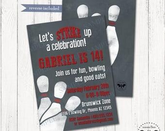 Bowling Birthday Invitation Printable / DIGITAL Bowling Party Invite