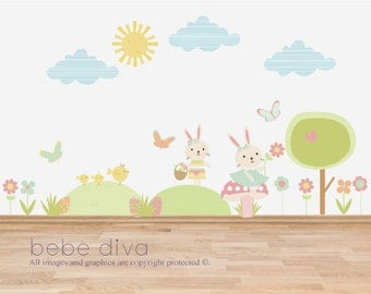 Bunny Scene Wall Decals, Wall Stickers, Nursery Decor, Kids Wall Decal, Wall Decal Nursery, Nursery Wall Decal, REMOVABLE REUSABLE