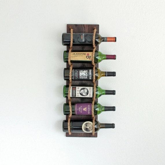 Wine Rack, Wall Wine Rack, Wood Wine Rack, Wall Mounted Wine Racks, Rustic Wine Rack, Rope Wine rack holds 6 Bottles
