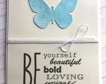 Be Yourself / Envouragent / Notecard / Folded Notecard / Handstamped / Watercolor