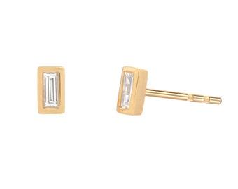 Diamond baguette earrings, 14k gold diamond studs
