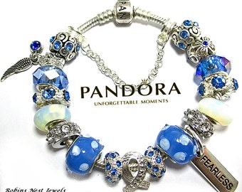 Awareness Bracelet, Choose Authentic Pandora Bracelet, Sterling Silver,OR, EuroBracelet, Silver Plated, Both with Non Branded Charms, Ribbon