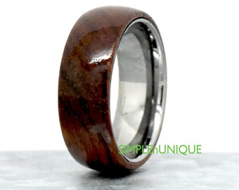 Wood Ring, Wood Tungsten Ring, Genuine Wooden Wedding Ring, Mens Womens Wood Tungsten Wedding Ring, Unique Tungsten Wood Ring