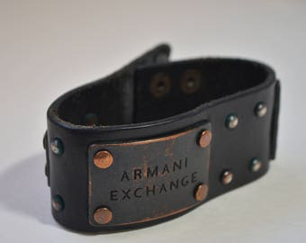 Vintage Armani Exchange AX Men's Black Genuine Leather Bronze Studded Bangle Bracelet