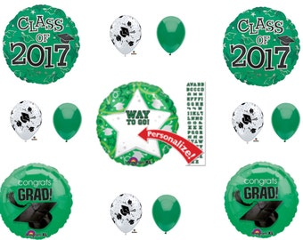 Personalize CLASS 2017 Green GRADUATION Balloons Decorations Supplies Party