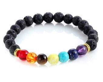 7 Chakra Bracelet, Lava Bead Bracelet, Chakra Gemstones, Valentines Gift, Beaded Bracelet, Beaded Jewelry, Gift Under 20, Stretch Bracelet