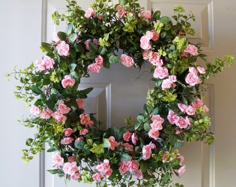 Large XL Wreath/ Roses Wreath/ Pink Green Large Wreath Extra Large wreath 34 in available, other colors