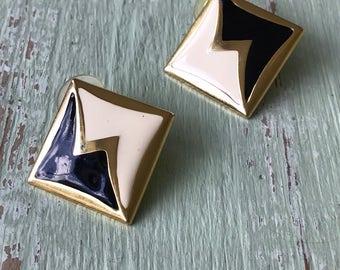 Vintage Gold Earrings, Black Earrings, Pierced Earrings, White Earrings, Gold Earrings, Vintage Earrings, 1980's Earrings, Vintage Jewelry