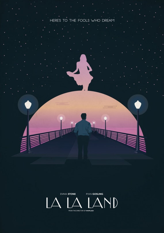 "La La Land 2016 Musical Movie Emma Stone Ryan Gosling Poster, La La Land Print, Emma Stone Poster, Movie Art, Size 13x20"" 24x36"" 32x48"" #11"