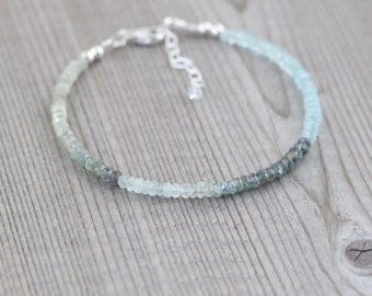 Dainty Moss Aquamarine Beaded Bracelet. Delicate Ombre Gemstone Jewelry. Thin Stacking Bracelet. Sterling Silver or Gold Filled. Jewellery