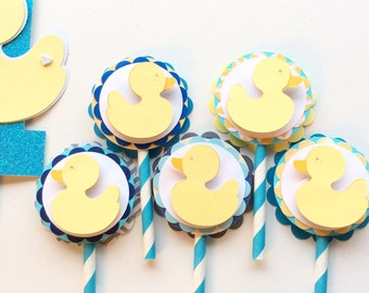 Duck birthday decorations, duck cupcake toppers, yellow duck birthday decorations, set of 12, yellow duckie cupcake toppers