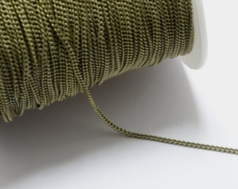 16ft (4.87m) (5.33 yards) 1.2mm Brass Curb Chain in Antique Bronze Plated, Fringe, Anti-Rust, Strong, Soldered #SD-S7499