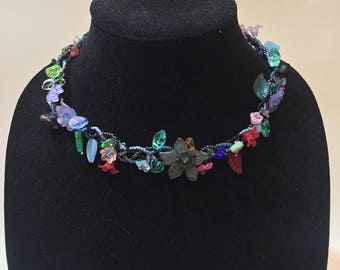 Women's Braided Floral Choker Necklace with Czech Beads & Swarovski Crystals