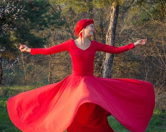 Whirling Skirt, Red Sufi Skirt, Skirt for Whirling