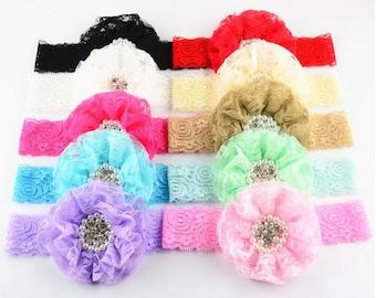 10pcs Fashionable Lace Mesh Yarn Flower Belt Hand-Sewn Pearl Flower Hair Hoop YTA80