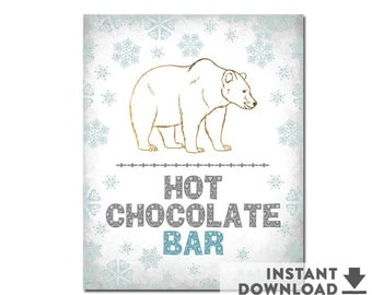 """8X10"""" Hot Chocolate Hot Chocolate Bar Sign Instant Download Snowflake Polar Bear Winter Birthday Party Decorations Printable // No.598KIDS"""