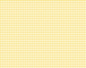 Riley Blake 1/8 inch yellow gingham fabric by the yard, yellow check fabric, Easter fabric, gingham fabric, quilting applique apparel fabric