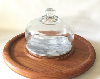 Vintage Teak Wood and Marble Cheese Tray with Glass Dome.