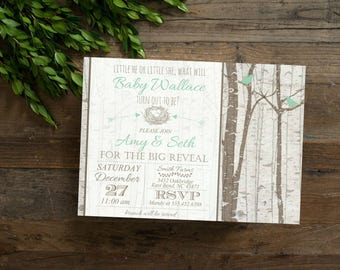 Sage Green Burch Tree Gender Reveal Invite,  Rustic Birch Tree Bird & Nest Gender Reveal, Simple Casual, Digital File,