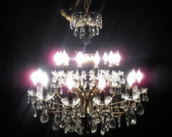 Antique Vintage Chandelier French Empire Grand 24 Light Bronze Crystals