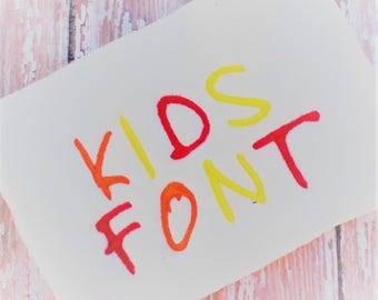 Kid Letters Font Digital Download - Kids Lettering Machine Embroidery Designs - Kids Font Set - Uppercase and Lowercase Fonts
