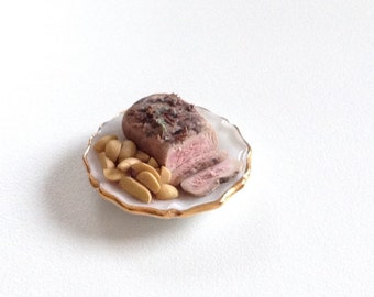 Miniature roast beef, handmade/ miniature food/ miniature dinner/ miniature lunch/ miniature cheese/ miniature accessories/ dollhouse food