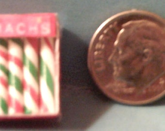 Dollhouse Miniature Brach's Christmas Peppermint Sticks in Holiday Package