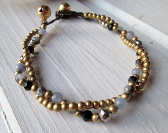 Pearl bracelet with shimmering Crystal beads * hippie boho Festival style * black