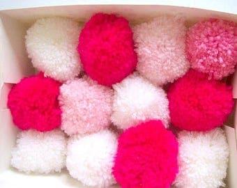 pom poms mixed pink and white pom poms handmade various colours - 6cm diameter - box of 12
