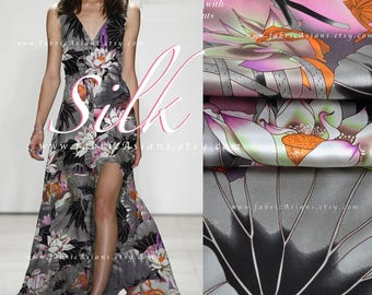 Grey Charmeuse Silk Asian Fabric