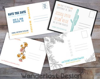 "5""x7"" Postcard Back Printable Custom Digital Design Compliments any Card Design Save the Date Birthday Invitation Announcement"