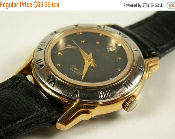 Storewide 25% Off SALE Vintage Ladies Benrus Designer Gold Tone Swiss Quartz Watch Featuring Black & Gold Bezel with Original Black Leather