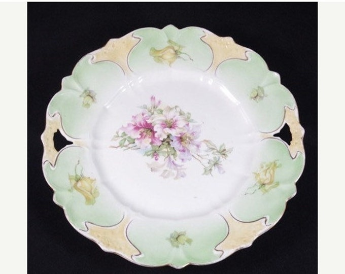 Storewide 25% Off SALE Beautiful Antique Hand Painted Floral Accented Fine China Decorative Collectable Plate Featuring Unique Open Trim Des