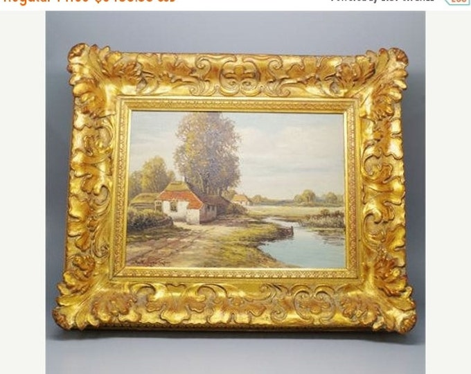 Storewide 25% Off SALE Original Wilhelm Hugo Rupprecht (1881-1970) German Countryside Oil On Board Painting Featuring Gold Gilded Frame