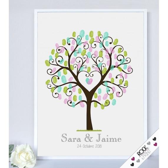 Heart couple fingerprint tree wedding guestbook / printable pdf ...