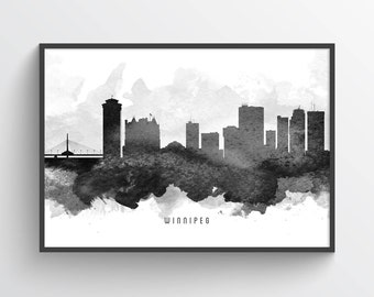 Winnipeg Poster, Winnipeg Skyline, Winnipeg Cityscape, Winnipeg Print, Winnipeg Art, Winnipeg Decor, Home Decor, Gift Idea, CAMBWI11P