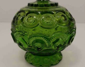 "L.E. Smith Moon and Stars 6"" Inch Green Glass Lidded Candy Compote Dish"