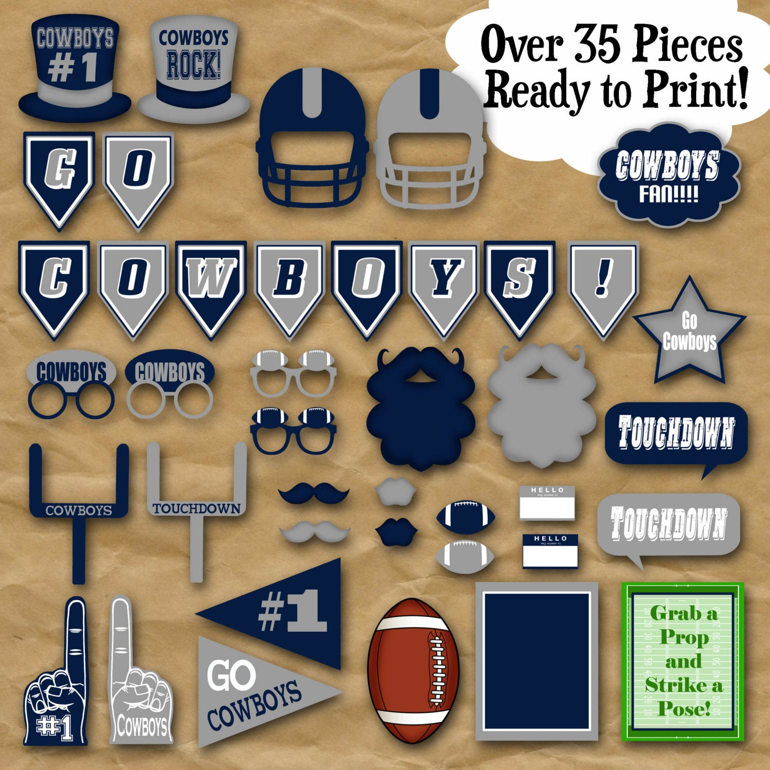 Cowboys Football Photo Booth Props and Party Decorations