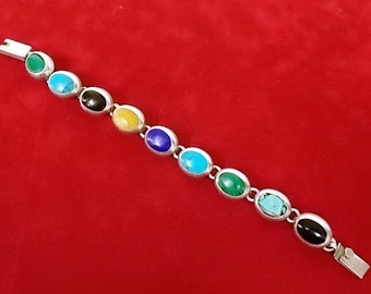 Vintage .925 Sterling Silver Stone Link Bracelet 36.38g E1783