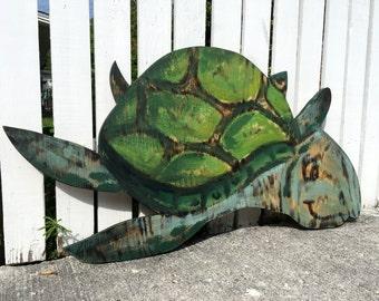 Birthday Gift Idea, Turtle Wood Decor, Beach House, Wooden Turtle Wall Art. Outdoor wall decor, Housewarming Gift Idea