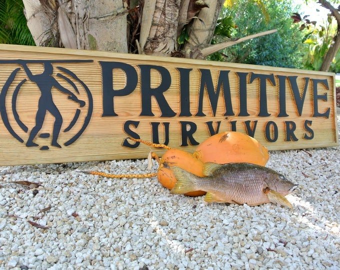 Outdoor Business Sign. Front Primitive Survivors Sign. Logo Advertising Signage. Carved wooden sign.