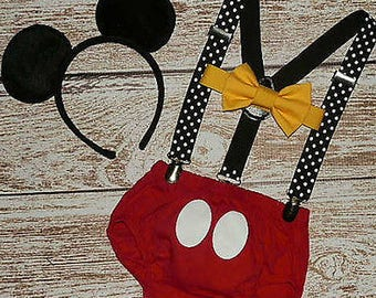 Mickey Mouse boys suspenders bow tie ears diaper cover cake smash 1st Birthday outfit headband