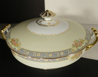 Noritake Royce Round Covered Vegetable Serving Bowl with Lid Floral