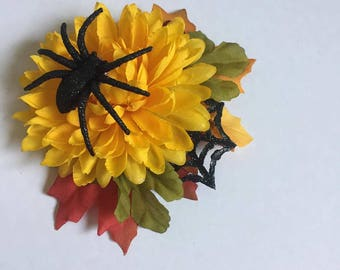 Yellow Mum Hair Flower with creepy spider accents
