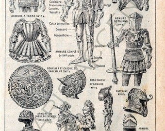 Instant digital download of 'Armures' Armor, from 'Nouveau Petit Larousse Illustré, a French Encyclopedia. Useful teaching aid, Dated 1952