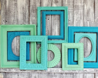 blue frame set teal turquoise and mint picture frames gallery wall nursery wedding photo collage home decor ocean water