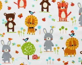 Nature Babies White Michael Miller 100% Cotton Flannel CF7219 FQ 1/2 Full Metre